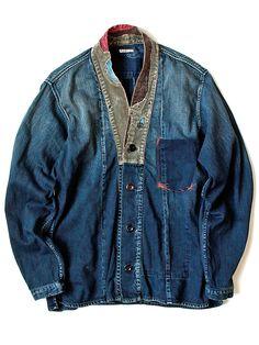 Love the patchwork vintage indigo Style Du Japon, Denim Vintage, Indigo, Mode Kimono, Denim Fashion, Fashion Outfits, Mode Jeans, Men's Jeans, Denim Trends