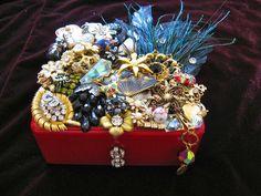 Karma Box Vintage Jewelry Embellished Red Mosaic Box.