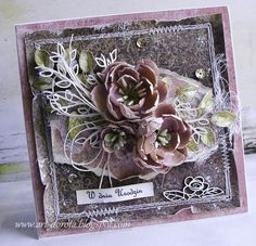 W dzisiejszych kartkach przede wszystkim chcę pokazać niezwykłe,   przepiękne kwiaty autorstwa  Eweliny     Dostałam je w prezencie i poc...