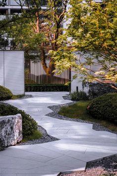 Landscape Design Plans, Landscape Elements, Landscape Architecture Design, Contemporary Landscape, Japanese Garden Landscape, Chinese Landscape, House Landscape, Japanese Garden Design, Chinese Garden