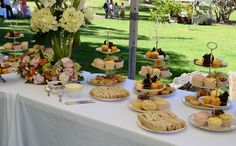 afternoon tea wedding. Tea sandwiches, macaroons, cupcake things
