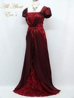 Burgundy EDWARDIAN Period Theme 12/14 Dress/Downton Abbey/TITANIC/MASQUERADE