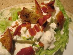 Homemade Blue Cheese Dressing on Wedge Salad
