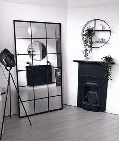 Window Mirror, Diy Mirror, Hallway Mirror, Mirror Bedroom, Ikea Mirror Hack, Industrial Mirrors, Industrial Salon Design, Industrial Bedroom, Home Living Room