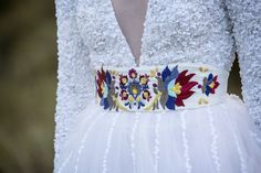 White embroidered belt by AtelierDeCoutureJK on Etsy