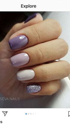 Purple Nail Designs, Acrylic Nail Designs, Purple Nails With Design, Lilac Nails With Glitter, Purple Shellac Nails, Shellac Nail Designs, Purple Nail Art, Colorful Nail Art, Nail Designs Spring