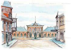 Het eerste station van Eindhoven werd voltooid in 1866. Het stond destijds nog in Woensel. Er gingen alleen treinen naar Tilburg en en Den Bosch. In 1912 werd het afgebroken. Voor over het plein liep de paardentramrails die leidde naar de remise op de Tramstraat. Het pand links met de hoge serre bestaat nog.