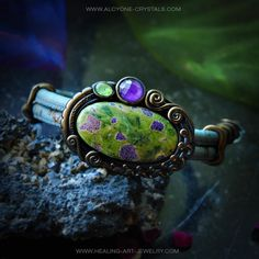 #atlantisite #bracelet  with #amethyst and #peridot  green and purple what a #beautiful #stone