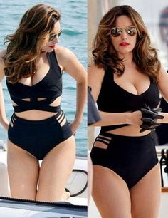 Sexy Plus Size One Piece Black Bikini