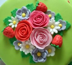 Strawberry flower cake topper