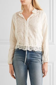 See by Chloé | Pintucked voile, lace and cotton blouse | NET-A-PORTER.COM