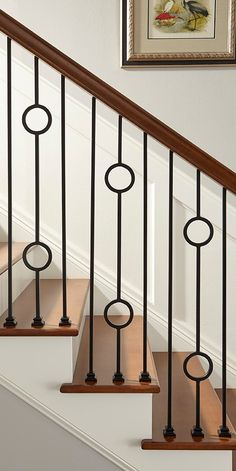 Pin by Crown Heritage Stairs on Iron Balusters Wooden Railing Stairs, Staircase Railing Design, Interior Stair Railing, Modern Stair Railing, Wrought Iron Stair Railing, Balcony Railing Design, Home Stairs Design, Door Design Interior, Modern Stairs