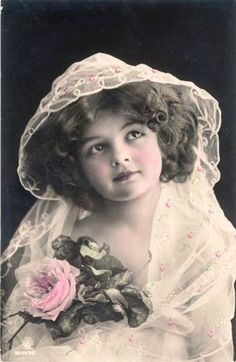 Vintage girl with pink roses flowers antique real photo postcard. Postales e Imagenes Antiguas. Éphémères Vintage, Album Vintage, Images Vintage, Vintage Ephemera, Vintage Girls, Vintage Pictures, Vintage Beauty, Vintage Postcards, Vintage Prints
