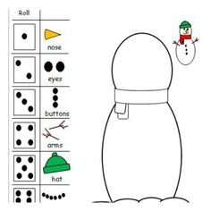 Enjoy this Build A Snowman dice game! Draw A Snowman, Snowman Games, Build A Snowman, Snowman Crafts, Christmas Math, Christmas Activities For Kids, Winter Crafts For Kids, Winter Activities, Christmas Crafts
