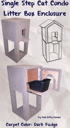 Single Step Cat Condo and Litter Box Enclosure Door: Round, Slider: Carpet, Carpet Color: Dark Fudge by Posh Kitty Condos  - Price: $369.95 #catlitterboxfurniture #cat #litter #box #furniture http://www.catbedandtoy.com/cat-litter-box-furniture