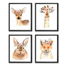 Woodland Nursery Prints, Girl Nursery Art, Woodland Animal Decor, Set of 3 or Set of 4 Prints only Unframed.