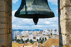 The view from the belltower at Faro's cathedral, looking out over the city, Algarve, Portugal