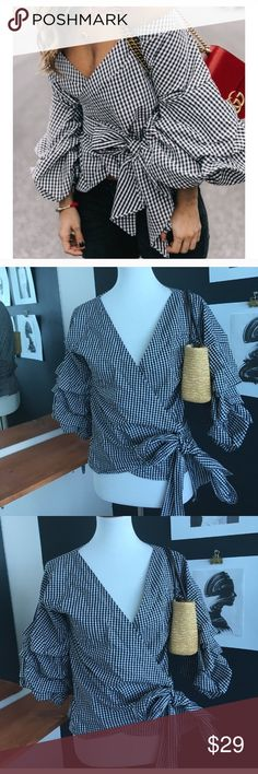 GINGHAM BLACK AND WHITE WRAP BLOUSE RUFFLE SLEEVE Gingham blouse with ruffle sleve. Very cute. Worn 1. From forever 21 size medium. Forever 21 Tops Blouses