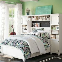 I love the Hampton Storage Bed + Bookcase Tower Set.
