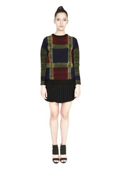 'Dori' embroidered lycra jersey jumper in a blue, red and yellow tartan pattern with a conceal zip bone detail and a contrast neck and waist band. Morphe, Tartan Pattern, Thread Work, Deconstruction, Traditional Design, Personal Style, Contrast, Jumper, Zip