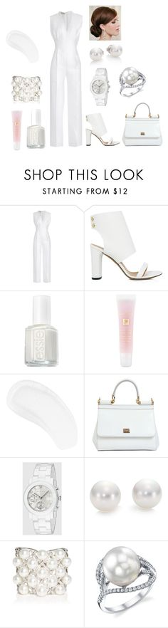 """2016 All White Party (6th place in Bags and Shoe contest)"" by freida-adams ❤ liked on Polyvore featuring Emilia Wickstead, IRO, Essie, Lancôme, Temptu, Dolce&Gabbana, Gucci, Mikimoto and Yoko London"