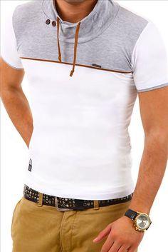 T-shirt grijs/wit combinatie zorgt voor een trendy design.