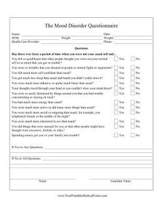 Filled with yes-or-no questions pertaining to mood, behavior and social interaction, this printable mood disorder questionnaire is useful for psychiatrists and therapists. Free to download and print