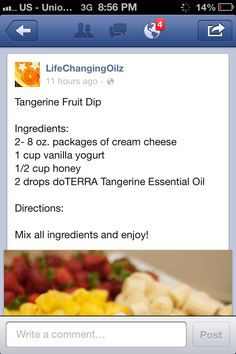 Tangerine fruit dip (doterra recipe)