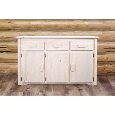 Brimming with rustic beauty and functionality, the Montana Woodworks Homestead Sideboard brings a barn wood-inspired design to your décor. Woodworking School, Learn Woodworking, Woodworking Machinery, Woodworking Tools, Raised Panel Doors, Wood Chandelier, Log Furniture, Kitchen Furniture, Rustic Lighting