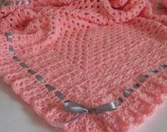 Crochet Baby Blanket / Afghan and Hat by HandmadeByHallien on Etsy