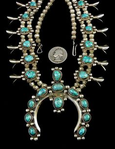 176g Vintage Navajo Sterling Silver Squash Blossom Necklace w Luminous Lone Mountain Turquoise & Handmade Fluted Bench beads...GORGEOUS!