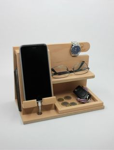 Docking station wooden docking station birthday gift for men unique holiday gift anniversary gift gifts dockingstation Husband Anniversary, Anniversary Gifts, Gifts For Coworkers, Gifts For Husband, Diy Wood Projects, Woodworking Projects, Woodworking Jointer, Woodworking Magazine, Woodworking Workshop