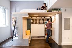 A 500 square foot urban condo needed more function so a pre-fabricated loft that packs a multitude of functions into its compact design was created.