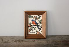 Vintage Needlepoint Framed Bluebird Wall Hanging