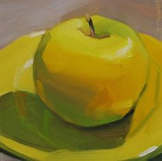 "Daily Paintworks - ""Golden Delicious on Yellow Pla..."" by Robin Rosenthal"