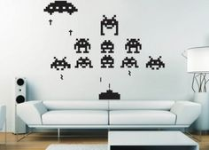 Space invaders wall art