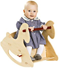 Giddy-up! This Danish-designed Wooden Rocking Horse by Moover gives toddlers a rockin' ride. Rocking is such an important activity for children. It stimulates the vestibular system, improving a child' Wooden Pallet Crafts, Wooden Pallet Furniture, Wooden Pallets, Kids Furniture, Baby Rocking Horse, Wooden Horse, Cnc Projects, Ride On Toys, Classic Toys