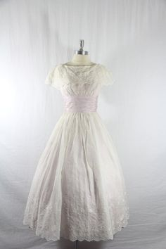 Vintage Dress -  1940's White Embroidered Semi Sheer Linen with Lilac Taffeta Wedding Frock