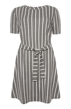 Grey Vertical Stripe Belted Dress What I Wore 6ba2c34cf
