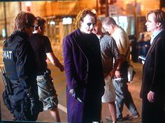 """Behind the scenes with the Joker """"The dark knight"""". Christopher Nolan (right) working with Gary Oldman and Heath Ledger."""