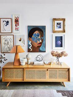 Interior Designer, Kerrie-Ann Jones' Home Has a Lot of Personality with Minimal Color - cane credenza styling // living room art ideas Effektive Bilder, die wir über home decor anbieten - Interior Design Trends, Home Design, Interior Inspiration, Interior Decorating, Interior Stylist, Color Interior, Colorful Interior Design, Inspiration Wall, Sunday Inspiration