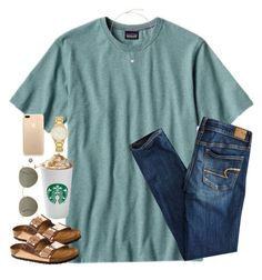 """""""Untitled #1595"""" by southernstruttin ❤ liked on Polyvore featuring Patagonia, Kendra Scott, American Eagle Outfitters, Birkenstock, Kate Spade and Ray-Ban"""