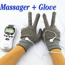 Mano Pain Relief Massager de la terapia de masaje eléctrica masajeador Digital con fibra del electrodo guantes(China (Mainland))