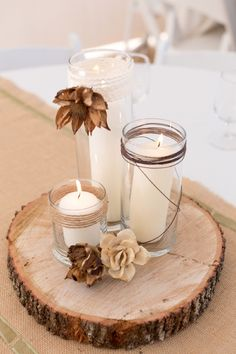 Rustic centerpiece- could drill holes in the top for tea lights @Michelle Flynn Flynn Flynn Derksen