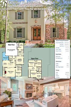 Introducing Architectural Designs Exclusive French Country House Plan 51771HZ. This plan gives you over 2,300 square feet of heated living space with 4 beds and 3 full baths. Ready when you are. Where do YOU want to build? #51771HZ #adhouseplans #architecturaldesigns #houseplan #architecture #newhome #newconstruction #newhouse #homedesign #dreamhome #dreamhouse #homeplan #architecture #architect #housegoals #europeanhome #southernliving #houses #interiors #interiorstyling