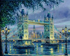 Landscape Paint by Number Kit, London Bridge Night DIY Painting on canvas Home decor wall art for adult DIY Painting Gift by on Etsy Oil Painting On Canvas, Diy Painting, Canvas Artwork, Wall Canvas, Belle Image Nature, Graffiti Kunst, Bridge Painting, Tower Bridge London, Paint By Number Kits