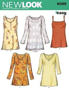 c8b30e7db622a New Look Sewing Pattern 6086 Misses Tops, Size A Misses Tunic Tops sewing  pattern. New Look pattern part of New Look Summer 2001 Collection.