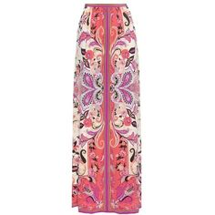 Etro Printed Silk Maxi Skirt (4.400 BRL) ❤ liked on Polyvore featuring skirts, multicoloured, multi colored skirt, red silk skirt, long silk skirt, long red skirt and floor length skirt