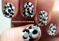 black, white, and grey dots