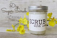 Last week I entered into the World Label Mason Jar Competition and my first question to Russell from World Label was how many can I submit? Lord knows this blogging, etsy owning mama needs a new Macbook so I wanted to give myself the BEST CHANCE possible. These Scrub With Love Burlap and Lace Printable Jar labels …